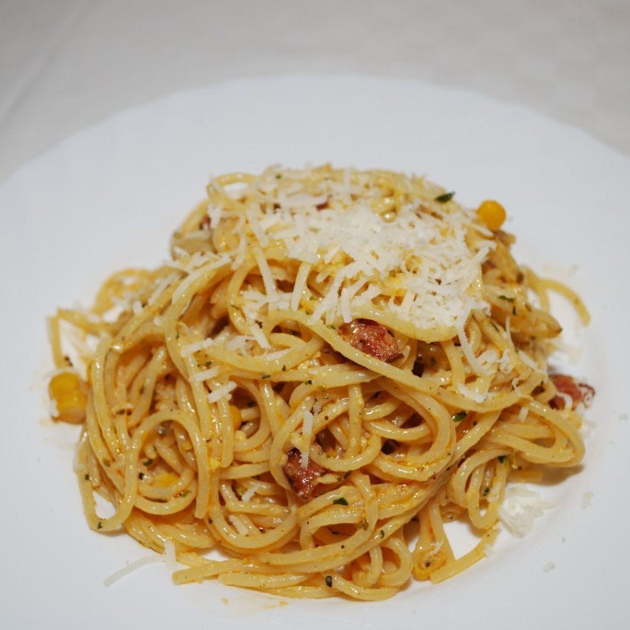 Kolbászos, kukoricás spagetti